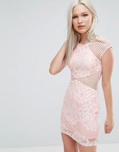 Облегающее платье с сетчатыми вставками AX Paris - Розовый