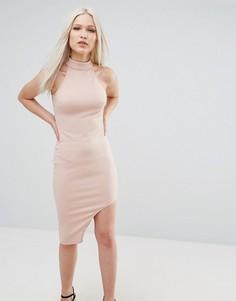 Асимметричное облегающее платье с высоким воротом AX Paris - Розовый
