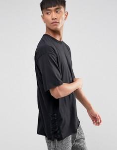 Черная футболка со шнуровкой по бокам New Look - Черный