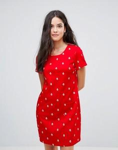 Цельнокройное платье с принтом Yumi - Красный