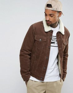 Коричневая вельветовая куртка с воротником «борг» ASOS - Коричневый