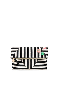 Patchwork v foldover clutch with pins - Clare V.