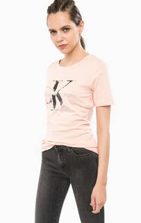 Коралловая футболка с принтом Calvin Klein Jeans