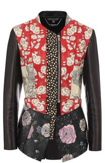 Приталенная кожаная куртка с принтом Alexander McQueen