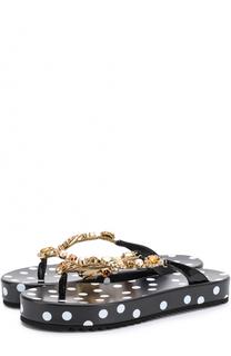 Кожаные шлепанцы с декоративной отделкой Dolce & Gabbana
