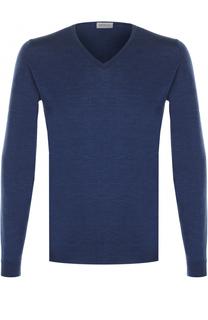 Шерстяной однотонный пуловер John Smedley