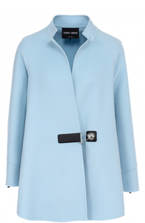 Кашемировое пальто свободного кроя с воротником-стойкой Giorgio Armani