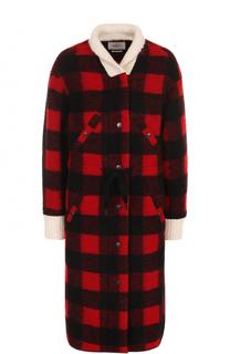 Удлиненное пальто в клетку с контрастными манжетами Isabel Marant Etoile