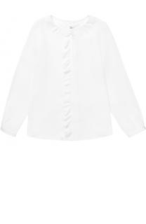 Блуза прямого кроя с фигурным воротником и оборкой Simonetta