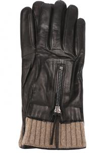 Кожаные перчатки с вязаной отделкой и молниями Sermoneta Gloves