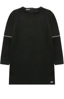 Мини-платье джерси прямого кроя с молниями на рукавах Dsquared2