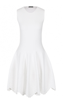 Приталенное мини-платье с фактурной отделкой подола Alexander McQueen