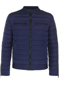 Стеганая куртка на молнии с контрастной отделкой Just Cavalli