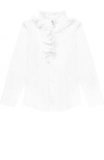 Хлопковая блуза прямого кроя с плиссированными оборками и воротником-стойкой Aletta