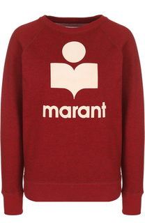 Свитшот прямого кроя с контрастным логотипом бренда Isabel Marant Etoile