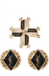 Набор серег с логотипом бренда Saint Laurent