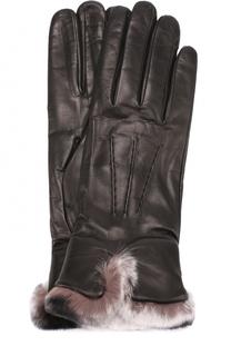 Кожаные перчатки с меховой отделкой Sermoneta Gloves