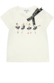 Хлопковая футболка с принтом и бантом Simonetta