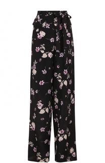 Шелковое широкие брюки с принтом Valentino