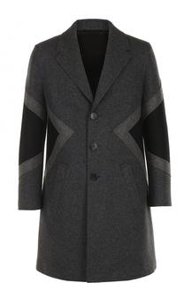 Шерстяное однобортное пальто с контрастной отделкой Neil Barrett