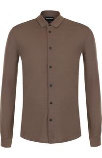 Шерстяная  рубашка с воротником кент Giorgio Armani