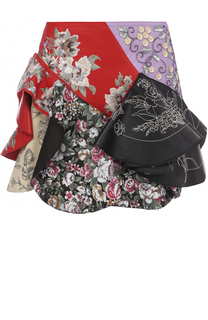 Кожаная юбка с оборками и декоративной отделкой Alexander McQueen