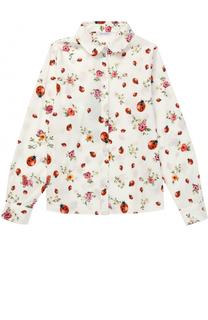 Хлопковая блуза прямого кроя с контрастным принтом Dolce & Gabbana