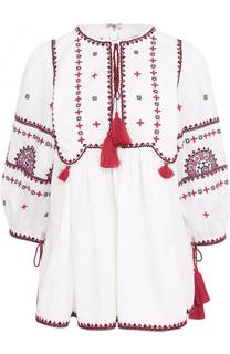 Топ с контрастной вышивкой и укороченным рукавом Talitha