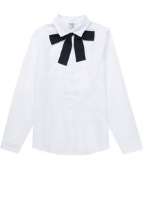 Хлопковая блуза прямого кроя с бантом Aletta