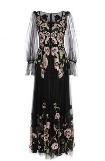 Платье-макси с прозрачными рукавами и цветочной вышивкой Alexander McQueen