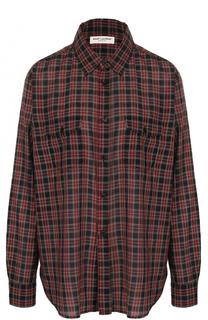 Блуза свободного кроя в клетку Saint Laurent