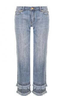 Укороченные джинсы с потертостями и бахромой MICHAEL Michael Kors