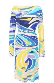 Платье-миди с вырезом-лодочка и принтом Emilio Pucci