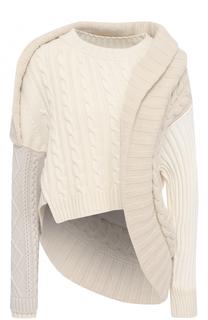 Шерстяной пуловер асимметричного кроя Burberry