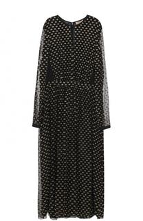 Шелковое платье-миди с контрастной отделкой Burberry