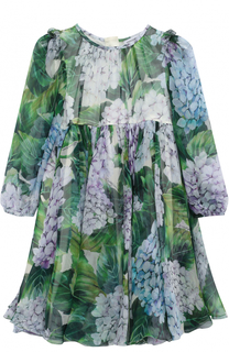 Шелковый комплект из платья с цветочным принтом и трусов Dolce & Gabbana