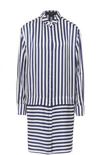 Шелковое платье-рубашка в полоску Burberry