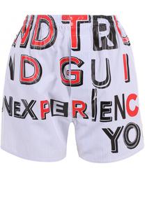 Хлопковые мини-шорты с надписями Maison Margiela
