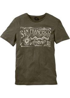 Прямая футболка с принтом (темно-оливковый) Bonprix