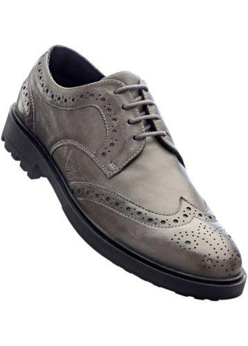 Кожаные туфли на шнуровке (антрацитовый)