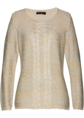 Пуловер (серый/бежевый/серебристый меланж)