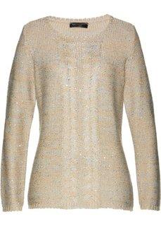 Пуловер (серый/бежевый/серебристый меланж) Bonprix