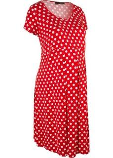 Для будущих мам: платье с коротким рукавом (клубничный/белый в горошек) Bonprix