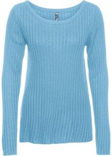 Тонкий пуловер в рубчик (нежно-голубой) Bonprix