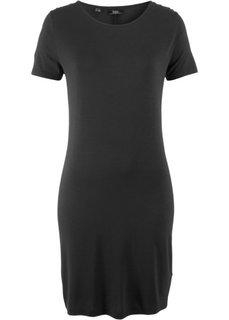 Трикотажное платье с коротким рукавом (черный) Bonprix