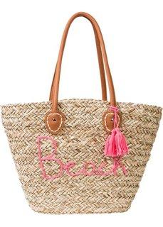 Пляжная сумка (натуральный/ярко-розовый) Bonprix