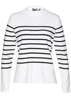 Пуловер (белый/черный в горизонтальную полоску) Bonprix