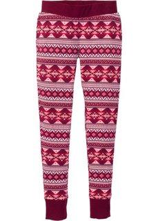 Трикотажные брюки (кленово-красный с рисунком) Bonprix