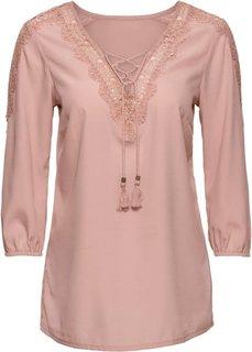 Блузка со шнуровкой и кружевом (розовый) Bonprix