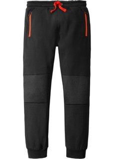 Трикотажные брюки с карманами на молнии и уплотненными коленями (черный) Bonprix